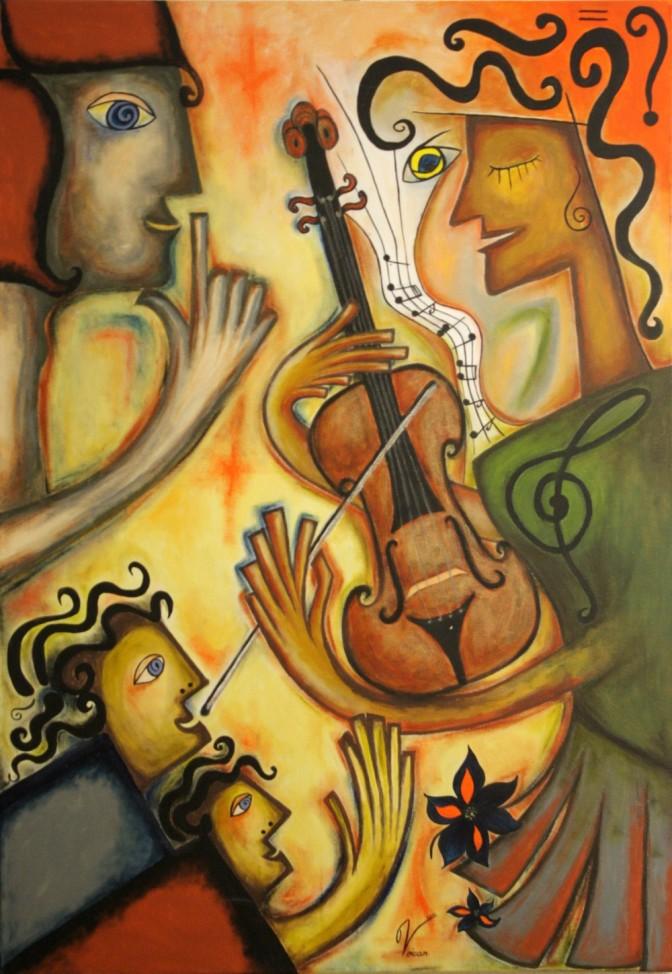 Maria Voican, Dreaming of Music, Acryl und Ölpastel auf Leinwand, 70x100cm, 2010, [AOS] Magazine