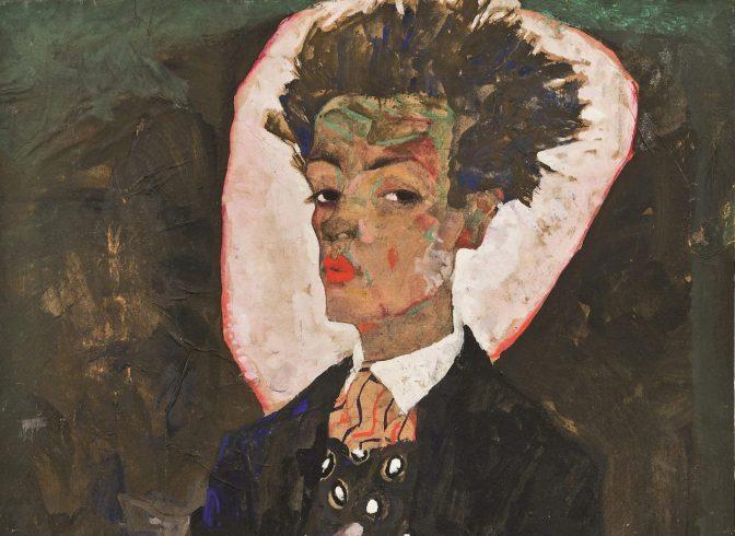 Egon Schiele, Selbstbildnis mit Pfauenweste, 1911